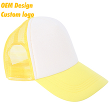 Wholesales High quality TC Metal Buckle short brim 5 panel Custom print Yellow unstructured trucker hats for men