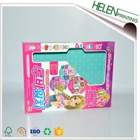 Custom full color printing paper kid toy box packaging with window