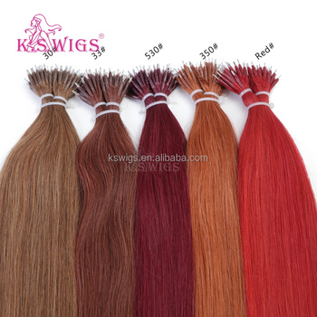 K.S WIGS 2017 Inventory Nano Ring Hair Extensions Silky Straight Indian Virgin Hair Wholesale Order Prices Extensions