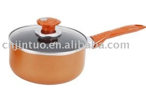 Aluminium non-stick milk pan with glass lid