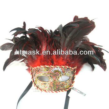 Beautiful Decorative Pattern Mask With Colorful Feather For Party Festival Luxury Material