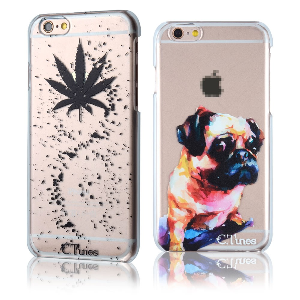 C&T Painted Funny Cute Watercolor Pug Ultra-thin Clear Hard Back Case Cover For Apple iPhone 7