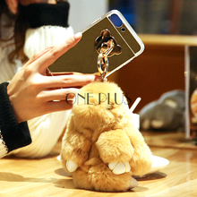 Anti Gravity Acrylic TPU Mirror Phone Case For Iphone6 6S /7 7S With Rex Rabbit Fur Ball