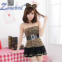 Lovely Girl Halloween Cat Costumes Bulk Nightclub Animal Adult Lady Leopard Party Wear