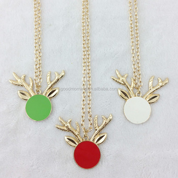 Christmas Gift Personalized Monogram Blanks Enamel Disc Reindeer Pendent Necklace