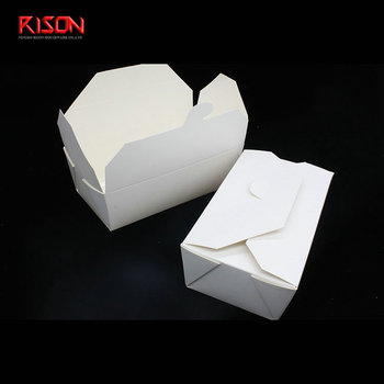 White disposable paper lunch food box