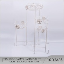 Artistic home decoration flower pattern 4 tiers iron wire basket stand