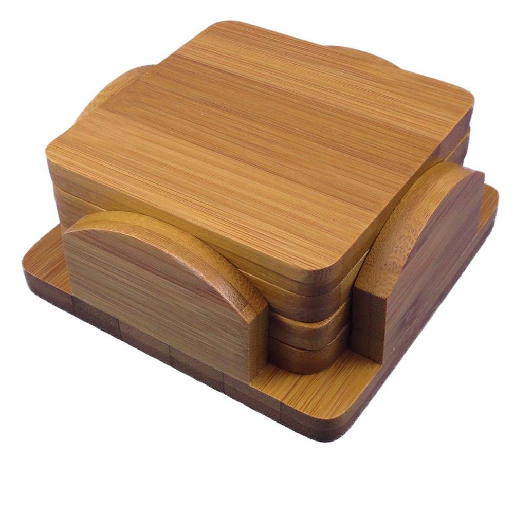 gro handel in china holz handwerk handgemachte lack bambus holz untersetzer set mit halter matte. Black Bedroom Furniture Sets. Home Design Ideas