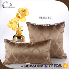 2017 wholesale decorative pillow covers coffee color imitated silk sofa jacquard cushion