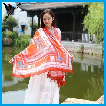 Spring And Summer Shawls Scarf Printed Viscose Seaside Beach Scarves