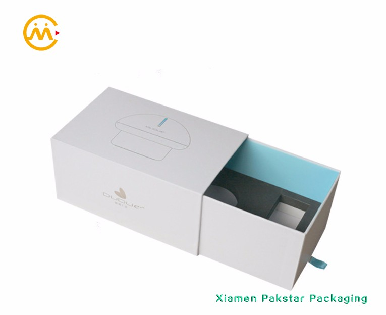 Custom thick white cardboard blue silk ribbon small paper cube slide open drawer gift box