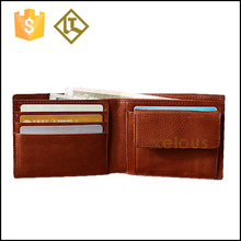 Tanned leather wallet with coin compartment bifold unisex leather money pouch for sale