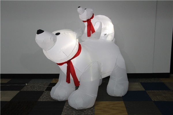 Two large white bear with light christmas inflatable outdoor 2017