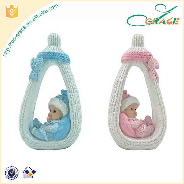 Cute Polyresin Nursing Bottle Figurine Baby Birth Souvenirs For Decor