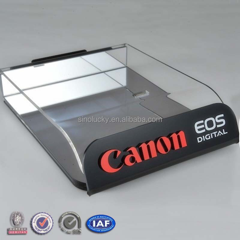 tabletop camera display/ plexiglass camera counter display/ retail acrylic camera display