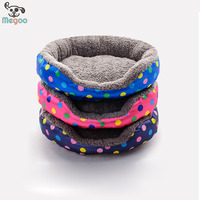 Fashion Dot Printed Double Using Washable Dog Warm Beds Waterproof Round Pet Beds