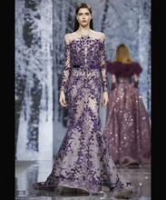 Purple New Women's Lace Applique Evening Dress Deep V-neck Long Party Gown Beaded Formal Occasion Dress