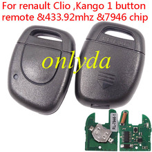 Ren:Symbol,Clio II,Kango II 1 Button remote key PCF7946-433MHZ before 2000 year