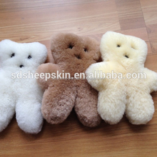 Genuine Australian Sheepskin Elks & Angels Bear Stuffed Animal 0-4 Boys & Girls