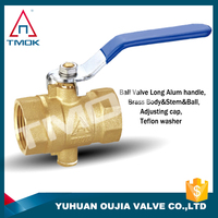 forged cock with drain ball valve safety exhuast iron handle auto lead free PEX PN 40 three way to flow control temperature ball