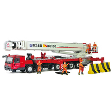 1:50 Scale Diecast DG100 Elevating Platform Fire Truck with Firemen Figure Doll, Emergency Truck Model, Collection, Gift