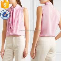 New Pink Pussy-Bow Pleated Silk Crepe De Chine Top Women Apparel Wholesaler Garment Clothing