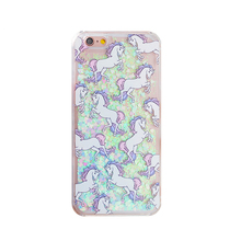 Design Cartoon Unicorn Horse Clear Dynamic Liquid Glitter Colorful Quicksand Star Phone Case For Samsung Galaxy S5 i9600