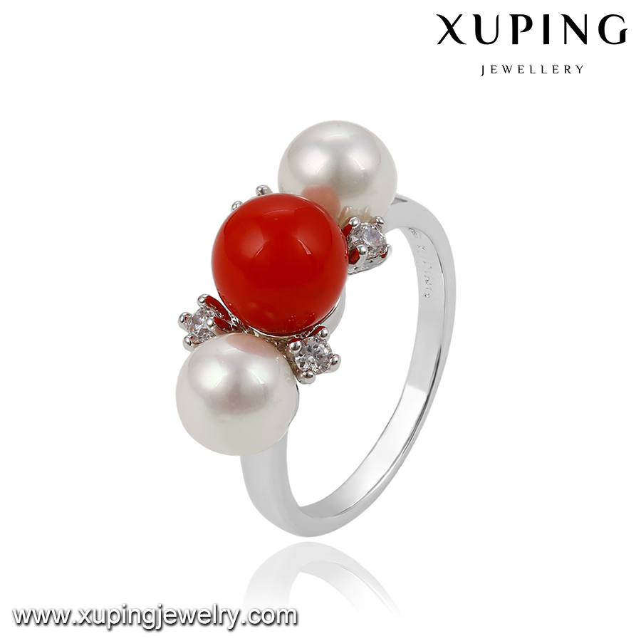 13882 Xuping jewelry beautiful imitation jewellery, pearl ring design for women