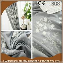 Whole sale price cotton blend fabric embroidery curtains