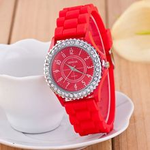 Multi-colors women geneva silicon watch large face crystal rhinestone wrist quartz watches