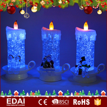 LED acrylic candle glitter moving christmas decoration for home with light