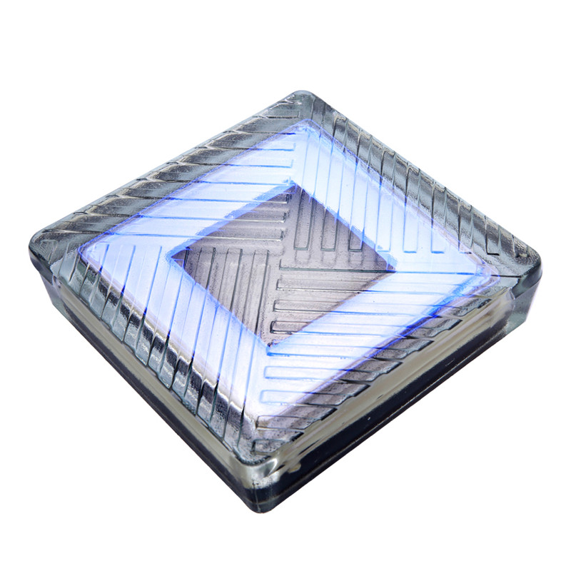 Environment friendly tempered crystal glass led solar ice brick light