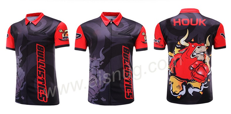 Sec fit sublimation impression shirts fléchettes hommes jersey