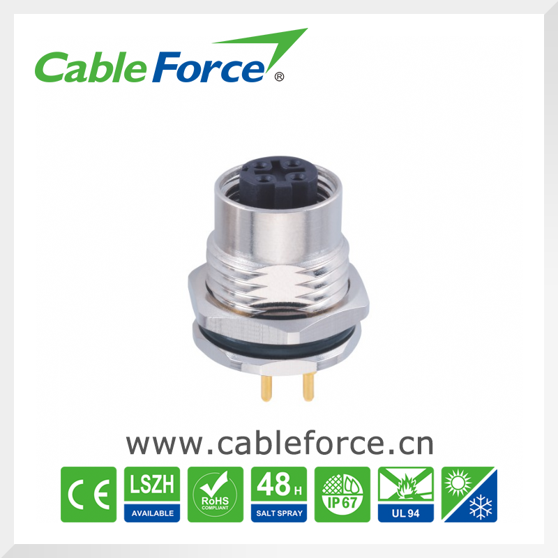 M12 ethernet cable and connectors waterproof automative electrical connector