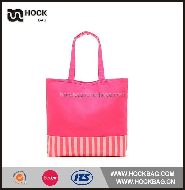 Popular Pink stripe extra large cotton canvas tote bag long handle
