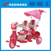 China Cheap Pink Baby Twin Tricycle For Sale