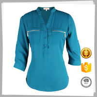 Latest design Beautiful polyester spandex long sleeve stretchable silk blouse