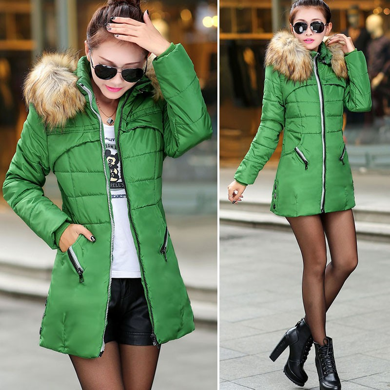 New Women Winter Warm Candy Color Thin Slim Down Long Coat SV006238