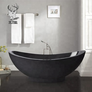 Hand carving nature black stone bathtub freestanding