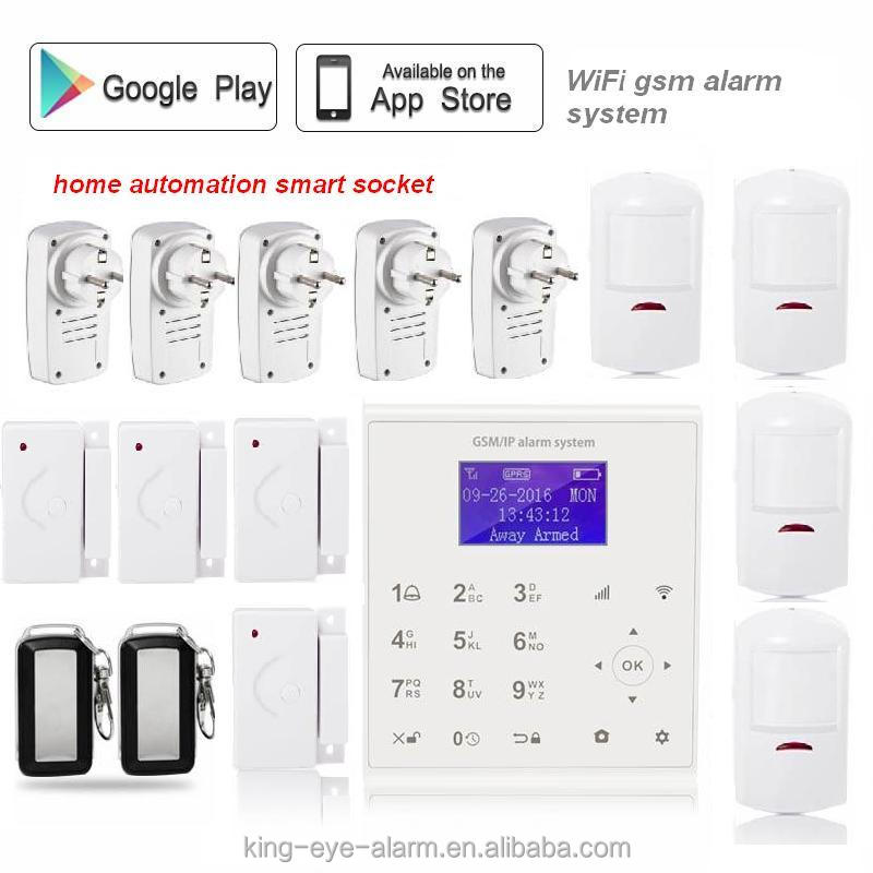 LCD display 2.4G WIFI frequency oem wifi gsm gprs home alarm with Cloud server