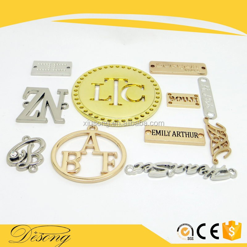 DS2016-28 round shape small custom metal jewelry tags with engraved letters