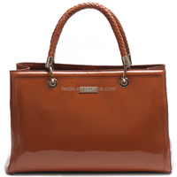 Italian office ladies style leather handbag with interior light