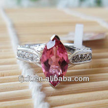 New Arrival Natural Tourmaline 925 Sterling Silver Pink Gemstone Rings
