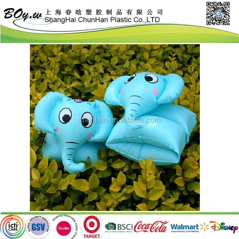 Sedex factory fashion OEM animal pool floating arm rings blue swimming pvc kids inflatable elephant armband