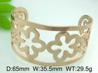 29.5g Pretty Flower Design Rose Gold Plated Jewelry Unique And Fancy Metal Cuff Bangle