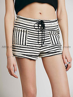 New front slip pockets stripe design ladies top shorts
