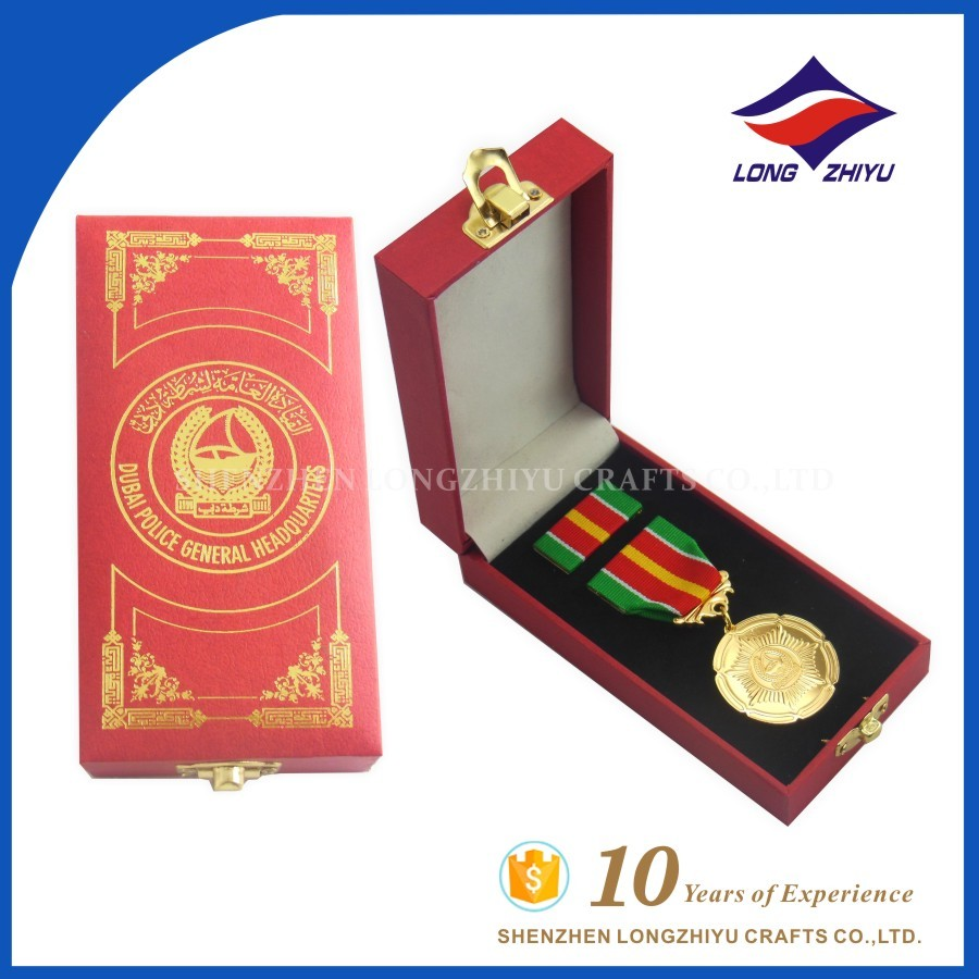 UAE Dubai military medal box with lanyard custom army medal and badge with butterfly pin
