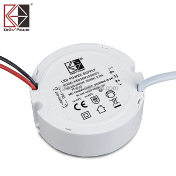 TUV CB 9W flicker free 100-277V IP65 500mA round LED power supply KEDW009S0500NC21