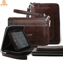portable multi-functional handbag for ipad mini/leather case for ipad mini