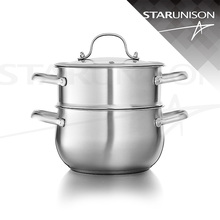 New product 20cm 2 layers belly shape stainless steel cookware / with steamer pot